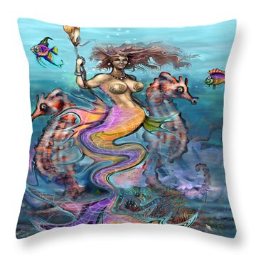 Mermaid Throw Pillow by Kevin Middleton