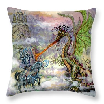 Throw Pillow featuring the painting Knights N Dragons by Kevin Middleton