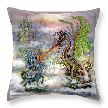 Knights N Dragons Throw Pillow