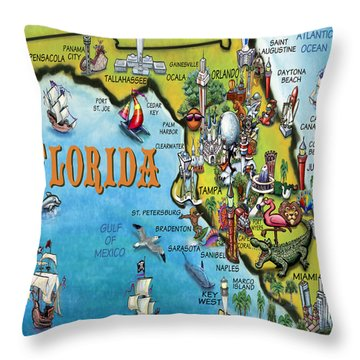 Throw Pillow featuring the digital art Florida Cartoon Map by Kevin Middleton