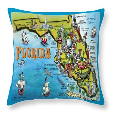 Florida Cartoon Map Throw Pillow