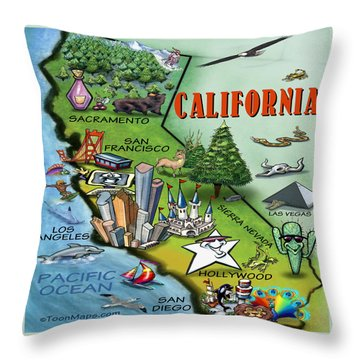 California Cartoon Map Throw Pillow