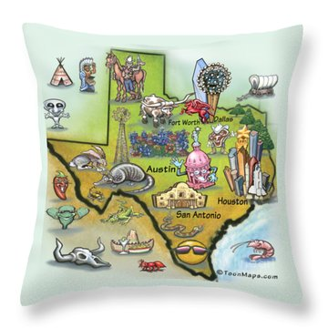 Texas Cartoon Map Throw Pillow