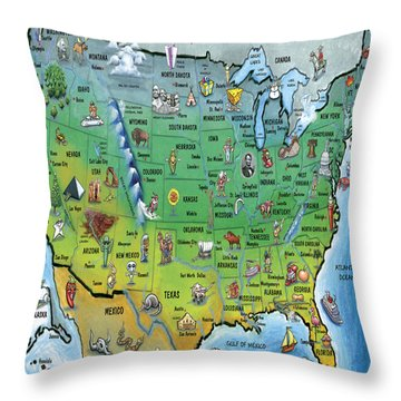Throw Pillow featuring the painting Usa Cartoon Map by Kevin Middleton