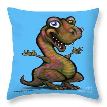 Baby T-rex Blue Throw Pillow by Kevin Middleton