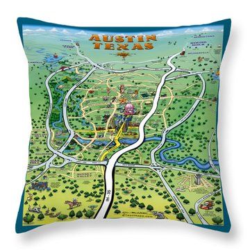Austin Tx Cartoon Map Throw Pillow