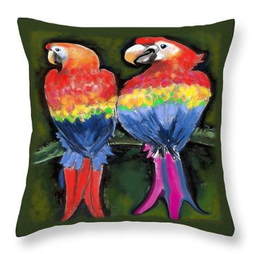 Parrots Throw Pillow by Kevin Middleton