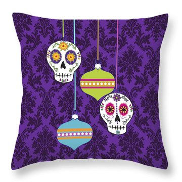 Feliz Navidad Holiday Sugar Skulls Throw Pillow by Tammy Wetzel