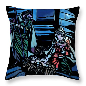 Nativity Stained Glass Throw Pillow by Methune Hively