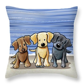 Labrador Beach Trio Throw Pillow