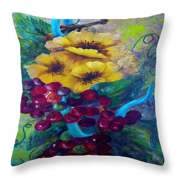 Too Delicate For Words - Yellow Flowers And Red Grapes Throw Pillow by Eloise Schneider