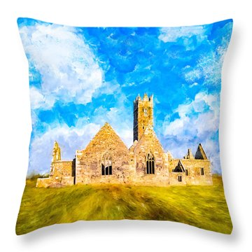 Throw Pillow featuring the mixed media Irish Monastic Ruins Of Ross Errilly Friary by Mark E Tisdale