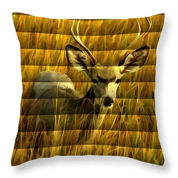 Throw Pillow featuring the photograph The Buck Poses Here by Bill Kesler