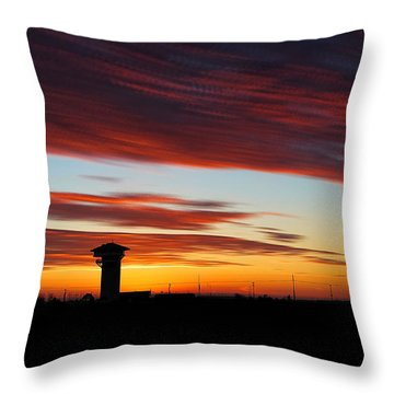 Throw Pillow featuring the photograph Sunrise Over Golden Spike Tower by Bill Kesler