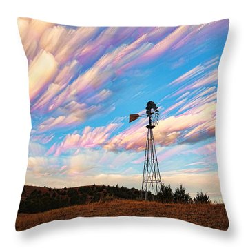 Throw Pillow featuring the photograph Crazy Wild Windmill by Bill Kesler