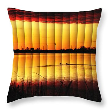 Throw Pillow featuring the photograph Magnificent Sunrise Swim by Bill Kesler