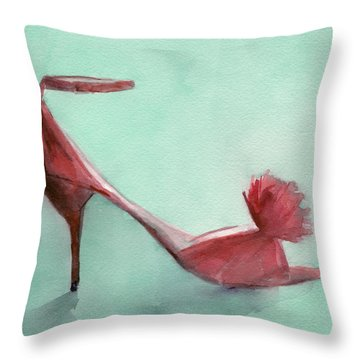 High Heel Red Shoes Painting Throw Pillow