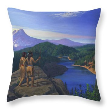 Native American Indian Maiden And Warrior Watching Bear Western Mountain Landscape Throw Pillow by Walt Curlee