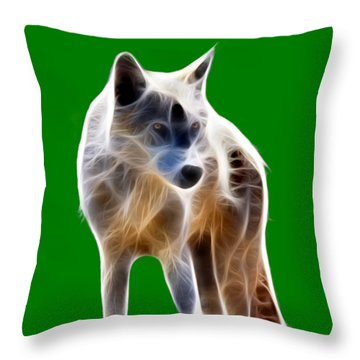 Glowing Wolf Throw Pillow