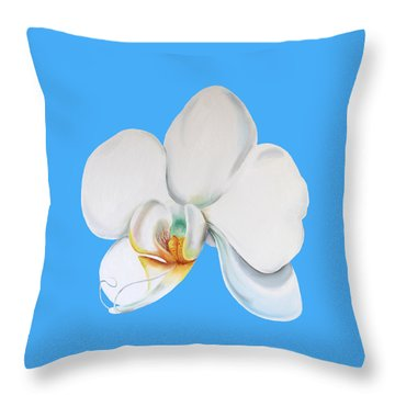 Throw Pillow featuring the painting White Orchid by Elizabeth Lock
