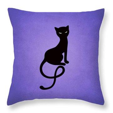 Purple Gracious Evil Black Cat Throw Pillow