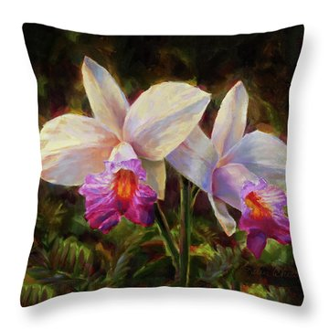 Hawaiian Bamboo Orchid Throw Pillow by Karen Whitworth