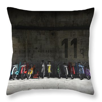 Bike Rack Throw Pillow by Cynthia Decker