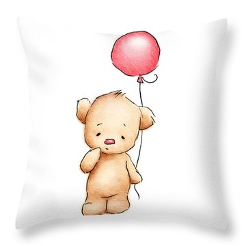 Teddy Bear With Red Balloon Throw Pillow