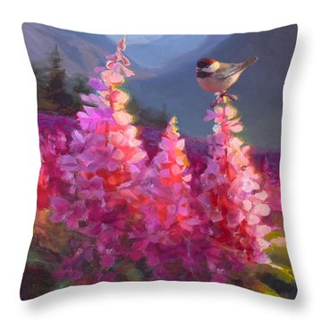 Eagle River Summer Chickadee And Fireweed Alaskan Landscape Throw Pillow