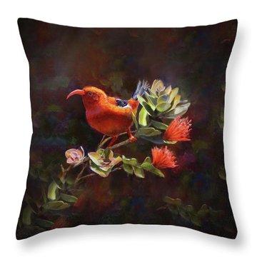 Hawaiian IIwi Bird And Ohia Lehua Flower Throw Pillow