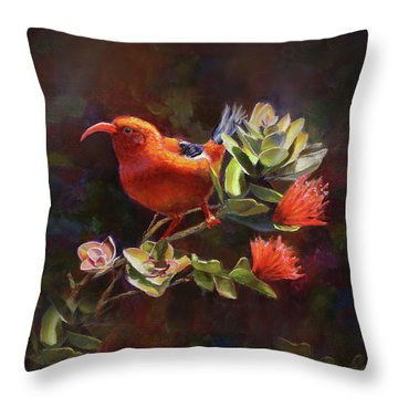 Hawaiian IIwi Bird And Ohia Lehua Flower Throw Pillow