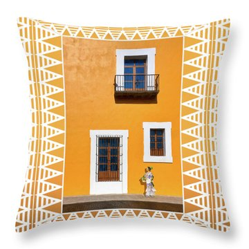 Golden Streets Of Puebla Mexico Throw Pillow