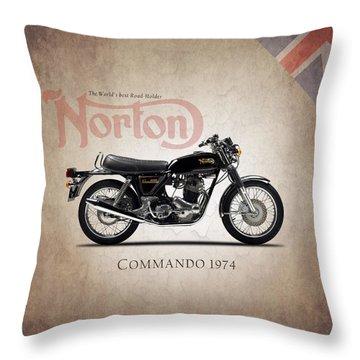 Norton Commando 1974 Throw Pillow by Mark Rogan