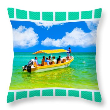 Little Yellow Boat Bound For Gulf Coast Adventure Throw Pillow