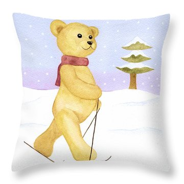 Throw Pillow featuring the painting Bear by Elizabeth Lock