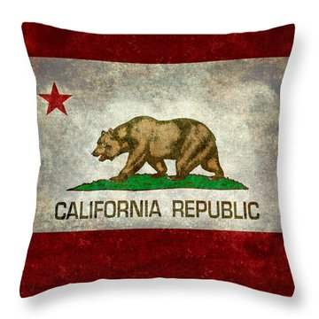California Republic State Flag Retro Style Throw Pillow