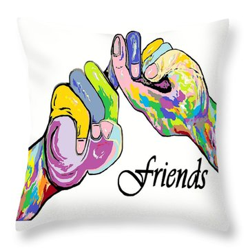 Friends . . . An American Sign Language Painting Throw Pillow