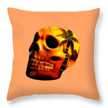 Glowing Skull Throw Pillow by Shane Bechler