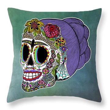 Throw Pillow featuring the drawing Catrina Sugar Skull by Tammy Wetzel