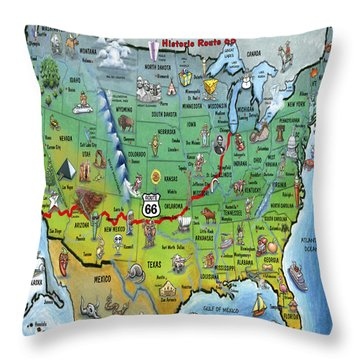 Throw Pillow featuring the painting Historic Route 66 Cartoon Map by Kevin Middleton