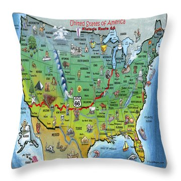 Historic Route 66 Cartoon Map Throw Pillow