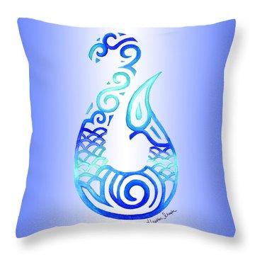 Tribal Fish Hook Throw Pillow
