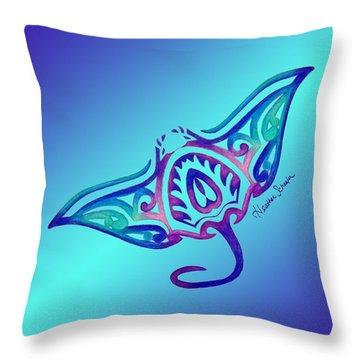 Tribal Manta Ray Throw Pillow