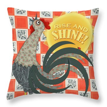 Good Morning Rooster Throw Pillow