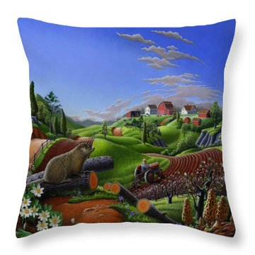 Farm Folk Art - Groundhog Spring Appalachia Landscape - Rural Country Americana - Woodchuck Throw Pillow