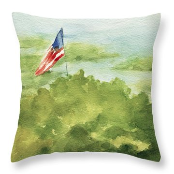 Cape Cod Beach With American Flag Painting Throw Pillow by Beverly Brown