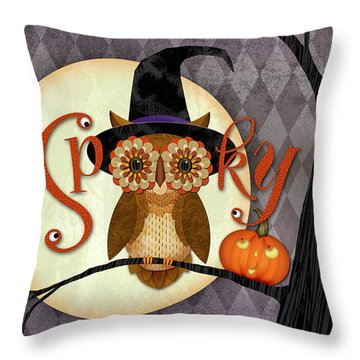 Spooky Owl Throw Pillow