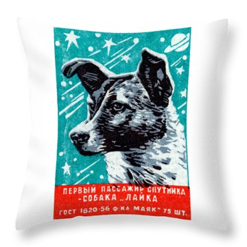 1957 Laika The Space Dog Throw Pillow by Historic Image