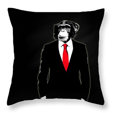 Domesticated Monkey Throw Pillow