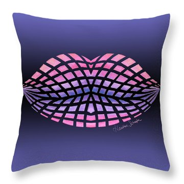 Vasarely Style Lips Throw Pillow